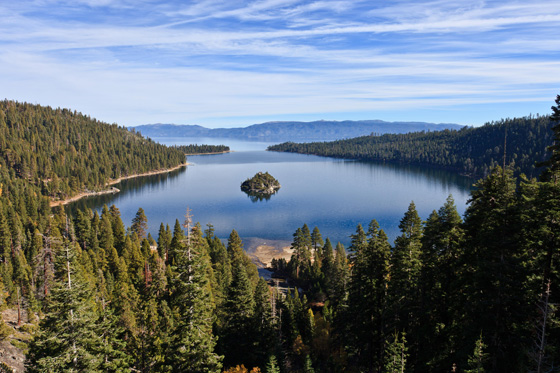 Tahoe, seen here from Emerald Bay, was one of the primary validation sites for the global lake study. The lake, which straddles the borders of California and Nevada, is the largest alpine lake in North America. Image credit: NASA-JPL.