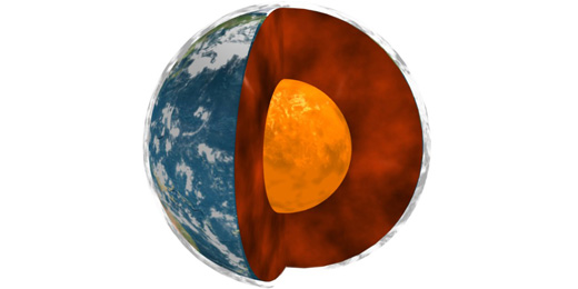 A NASA/university study of data on Earth's rotation, movements in Earth's molten core and global surface air temperatures has uncovered interesting correlations. Image credit: NASA/JPL, Université Paris Diderot and the Institut de Physique du Globe de Paris.