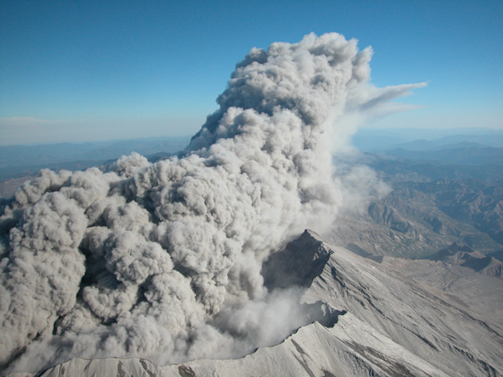 Volcanic plumes modulate the amount of stratospheric aerosols significantly. Even in times when there aren't large eruptions, such as the past decade, these aerosols have remained present, leaving a consistent background level. (Mount St. Helens photo credit: USGS)