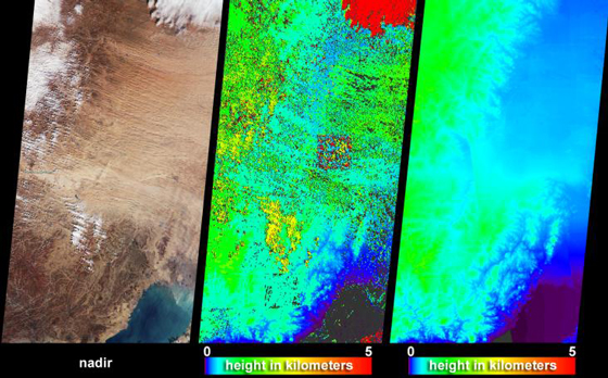 The Multi-angle Imaging SpectroRadiometer (MISR) captured these views of the dust and sand that swept over northeast China on March 10, 2004. Information on the height of the dust and an indication of the probable dust source region are provided by these images, which include a natural-color snapshot from MISR's nadir camera (left), a stereoscopically-retrieved height field (center) and a map of terrain elevation (right). Image Credit: NASA/GSFC/LaRC/JPL, MISR Team
