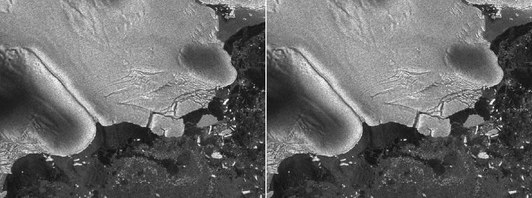 Before (left) and after (right) photos of the Sulzberger Ice Shelf illustrate the calving event associated with the Japan earthquake and resulting tsunami that occurred on March 11, 2011. The icebergs have just begun to separate in the left image. Credit: European Space Agency/Envisat