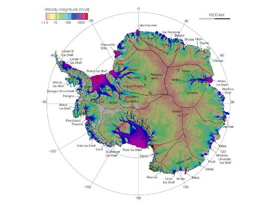 First complete map of the speed and direction of ice flow in Antarctica, derived from radar interferometric data. Image credit: NASA/JPL-Caltech/UCI