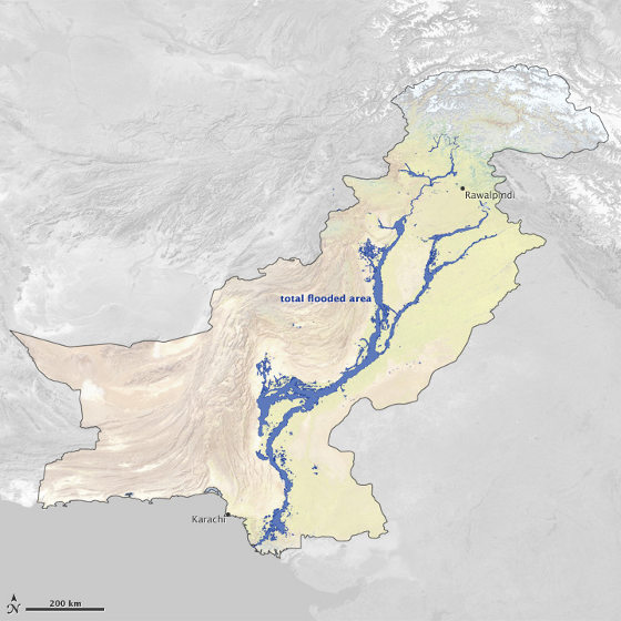 Floods covered at least 14,390 square miles (37,280 square kilometers) of Pakistan between July 28 and September 16, 2010.