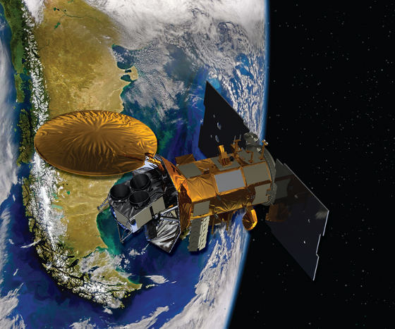 Artist's concept of the Aquarius/SAC-D spacecraft, a collaboration between NASA and Argentina's space agency, with participation from Brazil, Canada, France and Italy. Aquarius, the NASA-built primary instrument on the spacecraft, will take NASA's first space-based measurements of ocean surface salinity, a key missing variable in satellite observations of Earth that links ocean circulation, the global balance of freshwater and climate. The mission is scheduled to launch in June. Credit: NASA