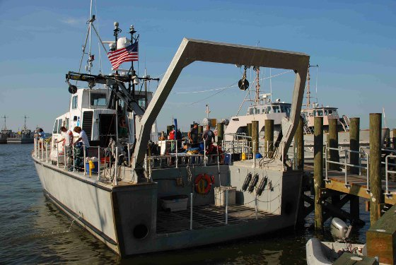 The research ship, a NOAA SRV-x, was harbored in Annapolis during the campaign and cruised to different sections of the Chesapeake to sample a variety of conditions throughout the bay.