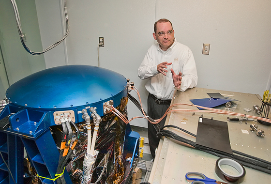 Grady Koch explains how the DAWN instrument measures offshore wind speed and direction. Credit: Sean Smith/NASA