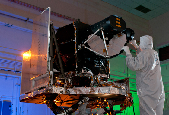 The Operational Land Imager (OLI) is being built by the Ball Aerospace and Technologies Corporation. The Ball contract was awarded in July 2007. OLI improves on past Landsat sensors using a technical approach demonstrated by a sensor flown on NASA's experimental EO-1 satellite. OLI is a push-broom sensor with a four-mirror telescope and 12-bit quantization. OLI will collect data for visible, near infrared, and short wave infrared spectral bands as well as a panchromatic band. It has a five-year design life. Credit: NASA/GSFC/Landsat.