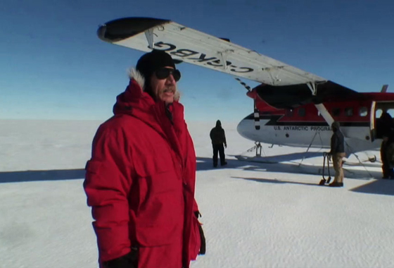 Robert Bindschadler, an emeritus glaciologist with NASA Goddard Space Flight Center, was the first person to ever walk on the Pine Island Glacier ice shelf, in January 2008. Credit: NASA