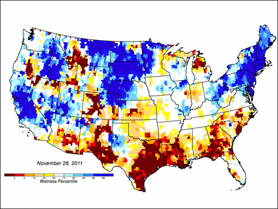 New groundwater and soil moisture drought indicator maps produced by NASA are available on the National Drought Mitigation Center's website. They currently show unusually low groundwater storage levels in Texas. The maps use an 11-division scale, with blues showing wetter-than-normal conditions and a yellow-to-red spectrum showing drier-than-normal conditions. Image credit: NASA/National Drought Mitigation Center