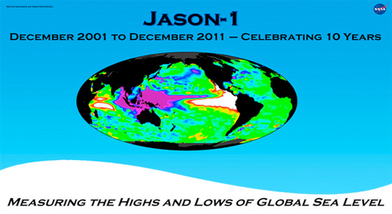 The NASA/French Space Agency Jason-1 satellite celebrates 10 years in orbit this week, adding to a 20-year continuous satellite record of global sea level rise and monitoring the waxings and wanings of El Nino and La Nina. Credit: NASA/JPL Ocean Surface Topography Team.