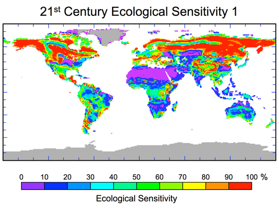 Predicted percentage of ecological landscape being driven toward changes in plant species as a result of projected human-induced climate change by 2100. Credit: NASA/JPL-Caltech.