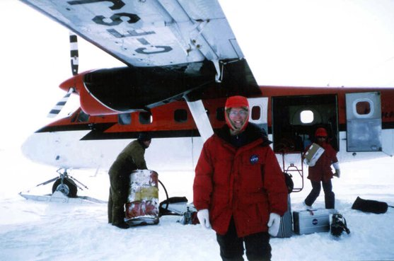 The first leg of Dr. Parkinson's expedition to the North Pole in April 1999 was by plane.