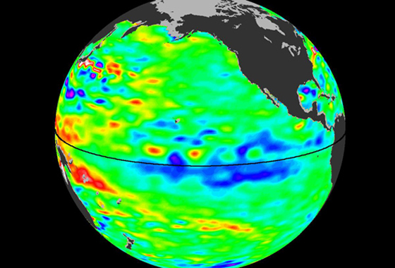 The latest image of sea surface heights in the Pacific Ocean from NASA's Jason-2 satellite shows that the current La Niña is peaking in intensity. Yellows and reds indicate areas where sea surface height is higher than normal (due to warm water), while blues and purples depict areas where sea surface height is lower than normal (due to cool water). Green indicates near-normal conditions. Credit: NASA/JPL Ocean Surface Topography Team