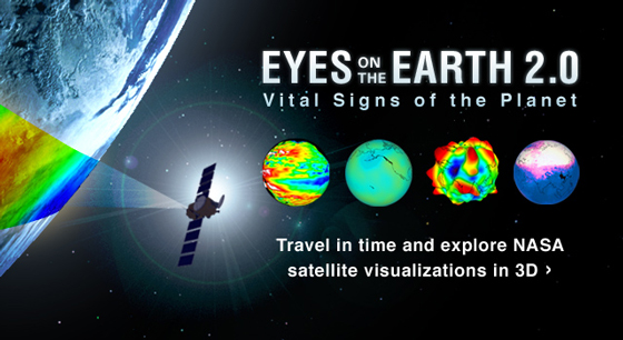 "An improved version of NASA's popular ""Eyes on the Earth"" interactive virtual reality visualization with a host of new features is now available. Credit: NASA/JPL-Caltech."