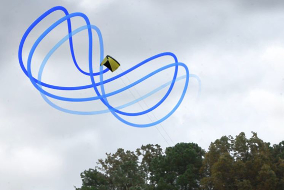The system developed at Langley flies a kite in a figure-8 pattern to power a generator on the ground.