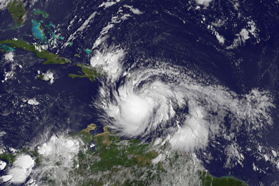 This visible image of Tropical Storm Isaac was captured by NOAA's GOES-13 satellite on Aug. 23 at 7:45 a.m. EDT as it was lashing the eastern Caribbean. Credit: NASA/NOAA GOES Project
