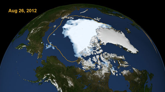 "This visualization shows the extent of Arctic sea ice on Aug. 26, 2012, the day the sea ice dipped to its smallest extent ever recorded in more than three decades of satellite measurements, according to scientists from NASA and the National Snow and Ice Data Center. The data is from the U.S. Defense Meteorological Satellite Program's Special Sensor Microwave/Imager. The line on the image shows the average minimum extent from the period covering 1979-2010, as measured by satellites. Every summer the Arctic ice cap melts down to what scientists call its ""minimum"" before colder weather builds the ice cover back up. The size of this minimum remains in a long-term decline. The extent on Aug. 26. 2012 broke the previous record set on Sept. 18, 2007. But the 2012 melt season could still continue for several weeks. Image credit: Scientific Visualization Studio, NASA Goddard Space Flight Center"