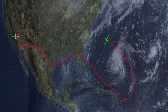 This image shows the flight path (red line) of a Global Hawk that departed from NASA's Dryden Flight Research Center at Edwards Air Force Base in Calif. and flew around Hurricane Leslie on Sept. 7, 2012 before landing at NASA's Wallops Flight Facility in Wallops Island, Va. Credit: NASA