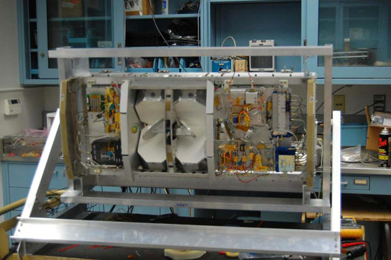 The High Altitude Monolithic Microwave integrated Circuit (MMIC) Sounding Radiometer (HAMSR) is a microwave atmospheric sounder developed by JPL under the NASA Instrument Incubator Program. Credit: NASA JPL