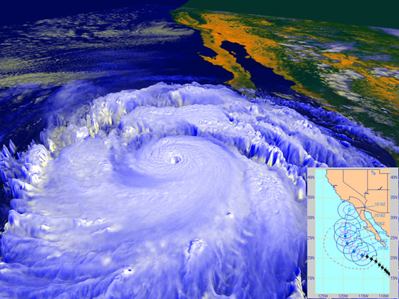 In September 1997, powerful Hurricane Linda, shown in this NASA rendering created with data from the NOAA GOES-9 satellite, was briefly forecast to strike Southern California, most likely as a tropical storm, as shown in the inset forecast track from the Naval Research Laboratory's Marine Meteorology Division. The storm eventually turned westward away from land, but still brought rainfall to parts of Southern California and high surf. Image credit: NASA/NOAA/NRL