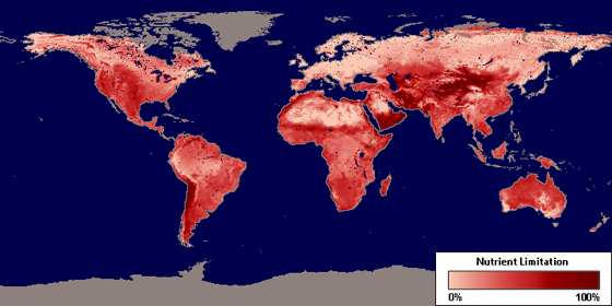 Nasa maps how nutrients affect plant productivity climate change global map depicting the percentage that vegetation growth is limited by available soil nutrients with gumiabroncs Gallery