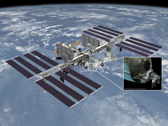 Artist's rendering of NASA's ISS-RapidScat instrument (inset), which will launch to the International Space Station in 2014 to measure ocean surface wind speed and direction and help improve weather forecasts, including hurricane monitoring. It will be installed on the end of the station's Columbus laboratory. Image credit: NASA/JPL-Caltech/JSC