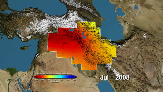 Variations in total water storage from normal, in millimeters, in the Tigris and Euphrates river basins, as measured by NASA's Gravity Recovery and Climate Experiment (GRACE) satellites, from January 2003 through December 2009. Reds represent drier conditions, while blues represent wetter conditions. The majority of the water lost was due to reductions in groundwater caused by human activities. By periodically measuring gravity regionally, GRACE tells scientists how much water storage changes over time. Image credit: NASA/UC Irvine/NCAR