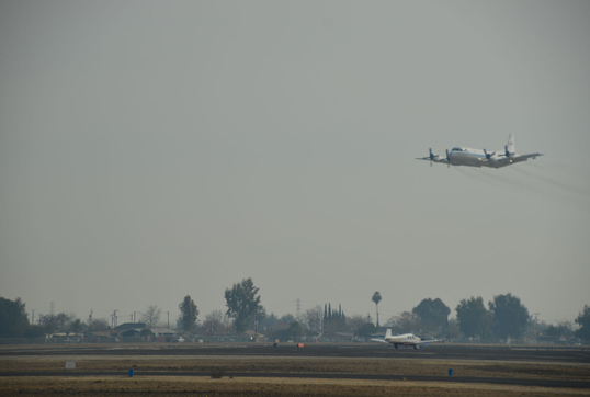 The NASA P-3B made low approaches at local airports during the mission, getting as low as 100 feet to make key air quality measurements. Shown here is the Bakersfield regional airport. Credit: NASA/Suzanne Crumeyrolle