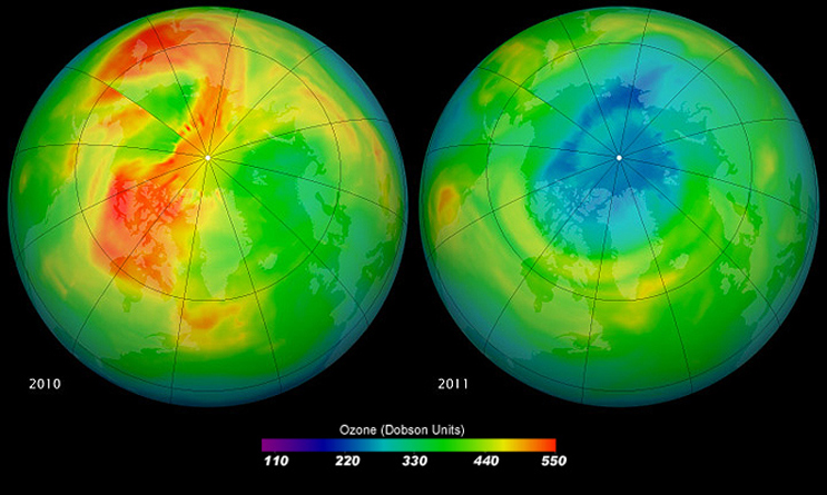 Maps of ozone concentrations over the Arctic come from the Ozone Monitoring Instrument (OMI) on NASA's Aura satellite. The left image shows March 19, 2010, and the right shows the same date in 2011. March 2010 had relatively high ozone, while March 2011 has low levels. Credit: NASA/Goddard