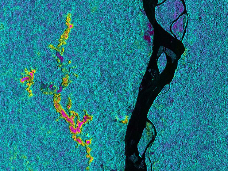 On March 17, 2013, NASA's Uninhabited Aerial Vehicle Synthetic Aperture Radar (UAVSAR) acquired synthetic aperture radar data over the Napo River in Ecuador and Peru. Image credit: NASA/JPL-Caltech