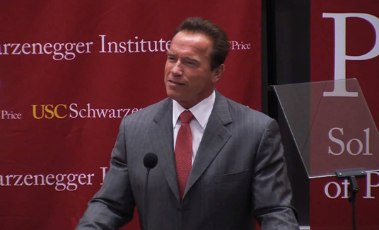 Arnold Schwarzenegger gave a few humorous opening remarks at the otherwise-sober National Climate Assessment public forum.  (Credit:  USC/Price)