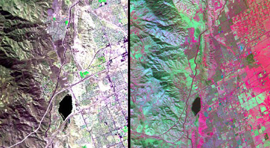 The HyspIRI airborne campaign overflew California's San Andreas Fault on March 29, 2013. The three-color (red, green, blue) composite image of the fault (left), composed from AVIRIS data, is similar to what a snapshot from a consumer camera would show. The entirety of data from AVIRIS, however, spans the visible to the short-wavelength infrared part of the spectrum. Temperature information (right) was collected simultaneously by the MASTER instrument. Red areas are composed of minerals with high silica, such as urban areas, while darker and cooler areas are composed of water and heavy vegetation. Image credit: NASA/JPL | View left side image | View right side image