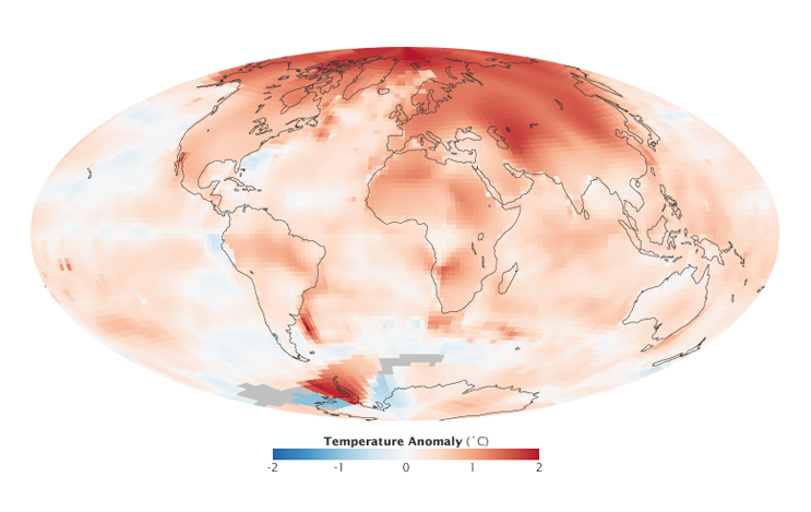 Credit: NASA image by Robert Simmon, based on GISS surface temperature analysis data including ship and buoy data from the Hadley Centre. Caption by Adam Voiland.