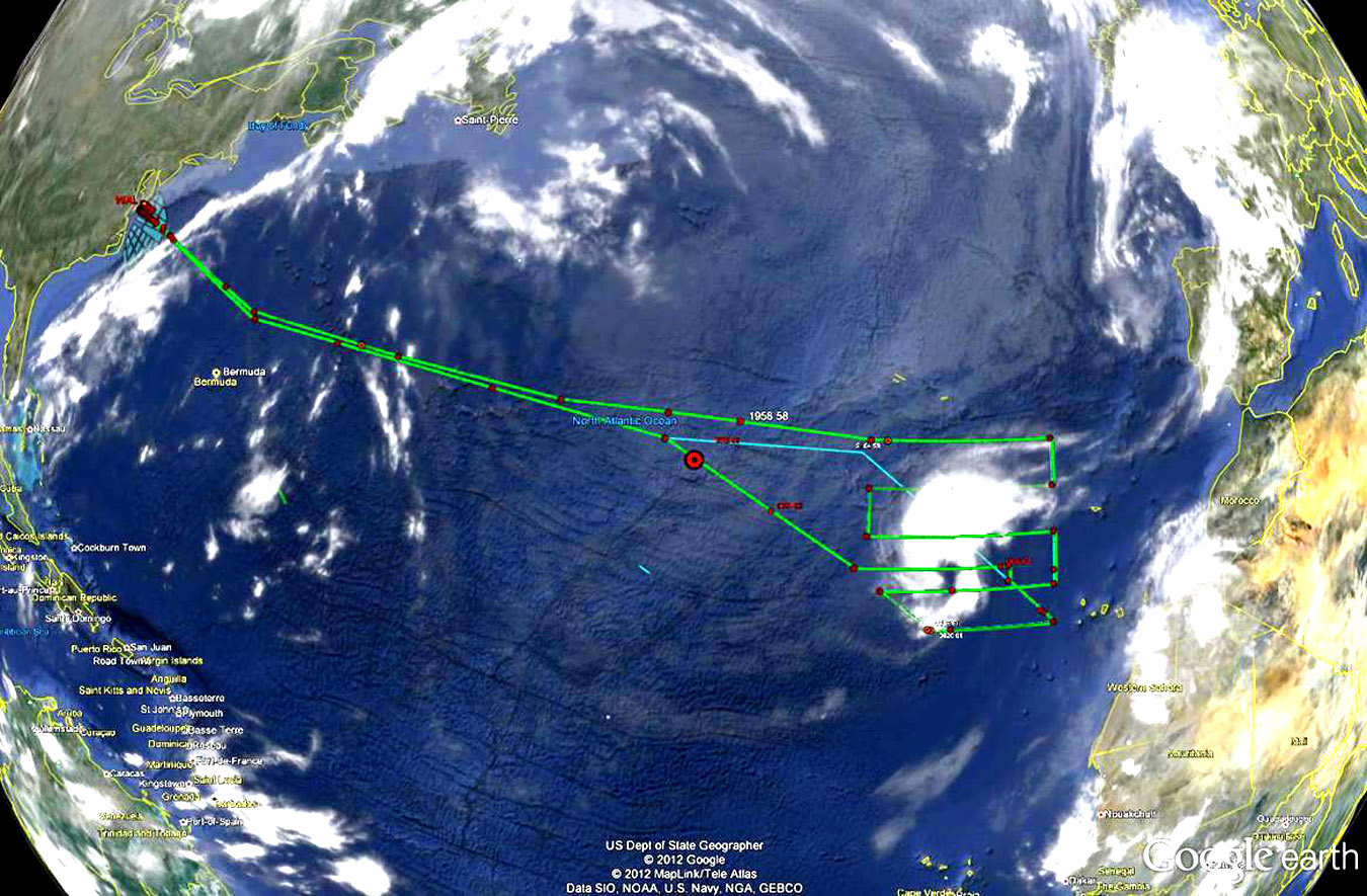NASA's Global Hawk drone spent 11 hours collecting data over tropical storm Nadine in the Eastern Atlantic Ocean on Sept. 23, 2013. The image shows the Global Hawk (red dot) returning to Wallops. Credit: NASA Wallops.