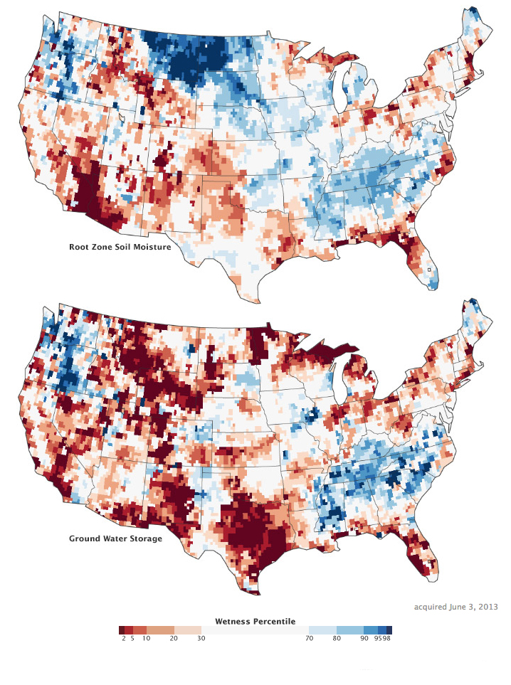 Maps by Chris Poulsen, National Drought Mitigation Center at the University of Nebraska-Lincoln, based on data from Matt Rodell, NASA Goddard Space Flight Center, and the GRACE science team. Caption by Mike Carlowicz, with assistance from Matt Rodell and Chris Poulsen. Download web resolution animation (18 MB, QuickTime); download high definition animation (101 MB, QuickTime).