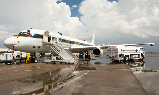 NASA's DC-8 preparing to fly on Aug. 12 from Ellington Field in Houston. Image Credit: NASA / Lauren Harnett