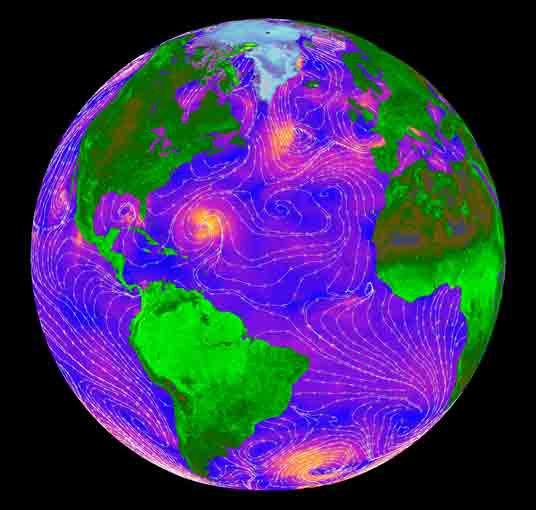 False-color image of sea wind speed as measured by NASA's QuikScat satellite in 1999. Orange represents the fastest wind speeds and blue the slowest. White streamlines indicate the wind direction. Credit: NASA/Jet Propulsion Laboratory.