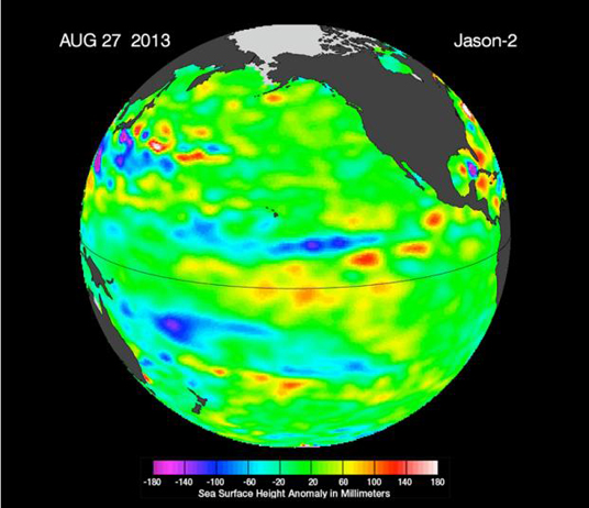 "The latest image of sea surface heights in the Pacific Ocean from NASA's Jason-2 satellite shows that the equatorial Pacific Ocean is now in its 16th month of being locked in what some call a neutral, or ""La Nada"" state. Image credit: NASA-JPL/Caltech/Ocean Surface Topography Team"
