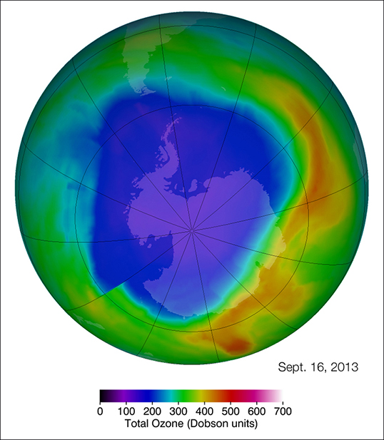The Antarctic ozone hole reached its maximum single-day area for 2013 on Sept. 16. The ozone hole (purple and blue) is the region over Antarctica with total ozone at or below 220 Dobson units (a common unit for measuring ozone concentration). Image Credit: NASA's Goddard Space Flight Center