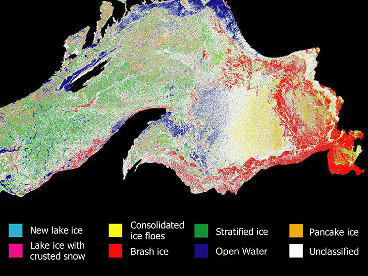 A color-coded image of major ice types on Lake Superior, made from a RADARSAT1 radar backscatter image using a new NASA and NOAA-developed technique.