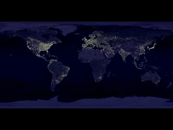 NIGHT LIGHTS: Earth's city lights as seen from space. The brightest areas of the Earth are the most urbanized, but not necessarily the most populated. More than a century after the invention of the electric light, many parts of the planet remain thinly populated and unlit. Image created with data from the Defense Meteorological Satellite Program Operational Linescan System.