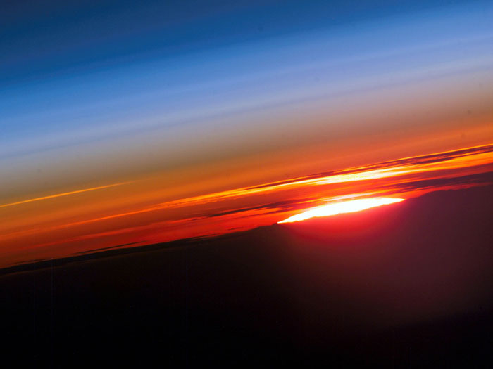 THE SKY'S THE LIMIT: The beauty of Earth's atmosphere and the setting sun. Photo taken by an Expedition-15 crewmember on the International Space Station on June 3, 2007.