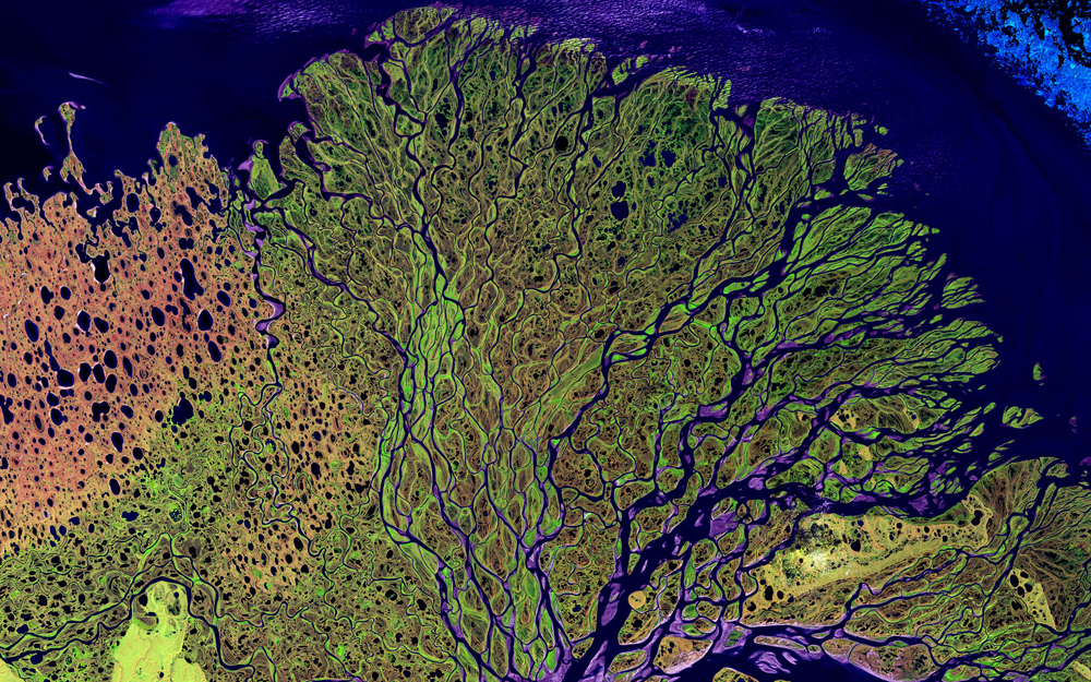This stunning image, taken on July 27, 2000, shows the Lena River in Russia, one of the largest rivers in the world, which is some 2,800 miles (4,400 kilometers) long. The Lena Delta Reserve is the most extensive protected wilderness area in Russia. It is animportant refuge and breeding ground for many species of Siberian wildlife.