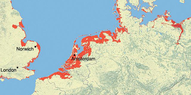 Mapa de como el cambio climático afectaría a Bélgica, Alemania, Inglaterra, Dinamarca, Holanda y Francia.